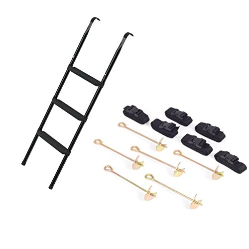 Ampel 24, Set Tappeto Elastico: Scaletta Deluxe di 110 cm con Kit di Fissaggio/scaletta con 3 gradini Larghe / 6 picchetti di Ancoraggio con Cinghie/Uso Universale