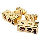 Auto Batterie Terminal - SODIAL (R)2 x HEAVY DUTY Gold ueberzogene Auto Batterie Terminals (positiv/ negativ) 4,8 AWG