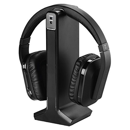 Thomson Digitaler Over-Ear Funk-Kopfhörer (z.B. für TV/HiFi/Smartphone/Tablet/PC/Laptop, mit Ladestation, kabellose Reichweite 20m) Wireless Stereo Headphones, Fernseh-Kopfhörer Schwarz (Nimh-wireless-handy)