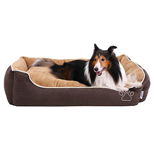 SONGMICS Kuscheliges XXL Luxus Hundebett mit weichem abnehmbarem Kissen, für große Hunde, 110 x 27 x 75 cm, braun+beige, PGW07YC