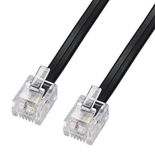 ecabo 6m Modularkabel Telefonkabel - 2X RJ11 Stecker - Anschlusskabel - Westernstecker - 4adrig / 6P4C / 1:1 - Flachkabel - schwarz - für Telefon ISDN AB FAX Modem