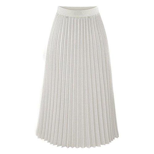 BHYDRY Frauen Solide Plissee Elegant Midi Elastischer Taillen Maxi Rock(Large,Blanc) (Jack Stone-kleid-shirt)