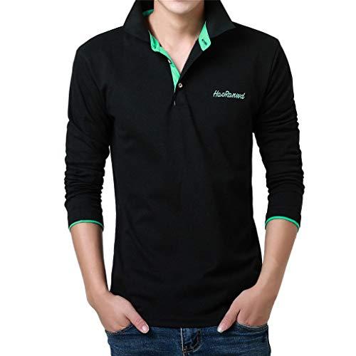 Innerternet Herren Sommer T-Shirt Polo Kragen Slim Fit Baumwolle Langarm Stehkragen mit Band Lässige Mode Revers Kurzarm Shirt Brusttasche Regular Fit Shirt für Männer -