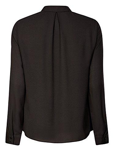 oodji Collection Femme Blouse en Tissu Fluide à Volants Noir (2900N)