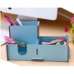 PC de bureau en bois DIY Pencil Case Multi-Function Papeterie Boîte de rangement bleu