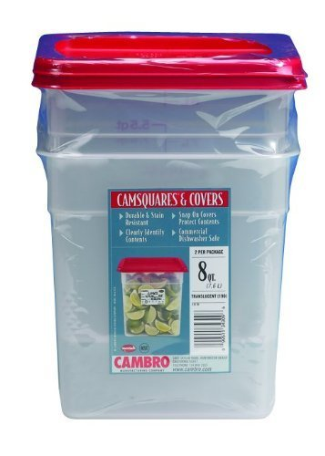 Cambro Set of 2 Square Food Storage Containers with Lids, 8 Quart by Cambro Square Food Storage Set