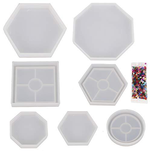 Subang 7 Stück DIY Untersetzer Silikon Form Epoxidguss Formen enthalten runde quadratische Sechskant- und achteckige Form für Harz, Beton, Zement, Heimdekoration mit Pentagramm-Pailletten