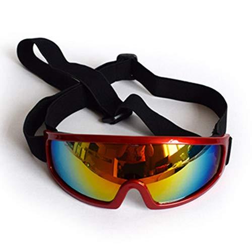 PETSUPPLY0 Hundeschutzbrillen Sonnenbrille Wasserdicht Winddicht Augenschutz für Haustier Anti-UV Anti-Fog,Red