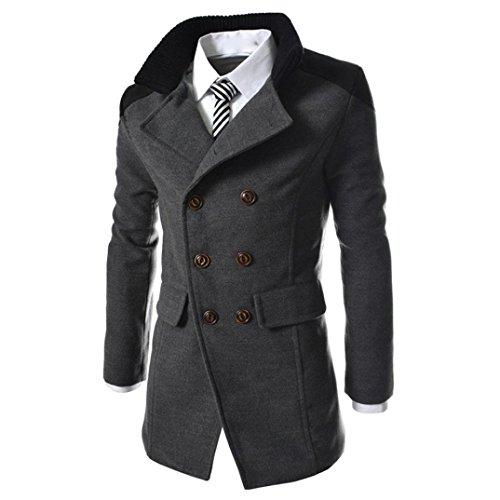 ♚Btruely Herren Invierno Casual Chaquetas Bolsillos cálido Invierno Trinchera Largo Outwear botón Elegante Abrigo