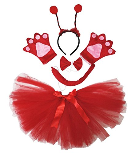 (Petitebelle Beetle Costume Headband Bowtie Tail Gloves Red Tutu Set for Women (One Size))