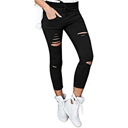 Oyedens Pantalones delgados delgado del estiramiento de la cintura de las mujeres de la señora Skinny Ripped, Negro (S)