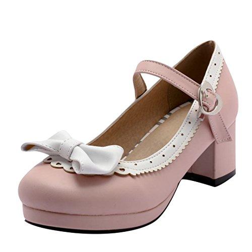 Agodor Damen Rockabilly Chunky Heels Pumps mit Riemchen Schleife und Blockabsatz 5cm Absatz Schuhe
