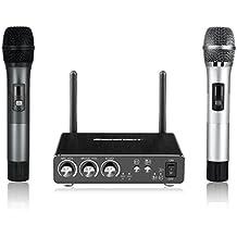 Excelvan K28 - Equipo de 2 Karaoke Micrófonos Inalámbricos y Receptor de Micrófono (Bluetooth, Tecnica UHF Anti interferencia, Pantalla LCD, 20M distancia efectiva, Modelo Line-in, Baja Distorsión, Comparte con Movil, Laptop por App, para Bares Karaoke Fiestas Hogar Reunión) Gris y plateado