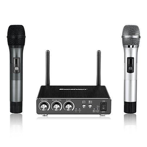 Excelvan K28 - Equipo de 2 Karaoke Micrófonos Inalámbricos y Recepto