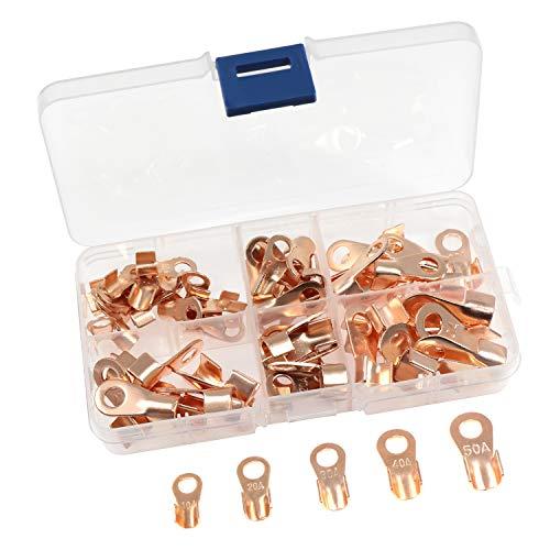 Offene Barrel Kupfer Ring Lug Terminals OT 10a-50a Draht Quetschverbinder Sortiment Kit, 70Stück -