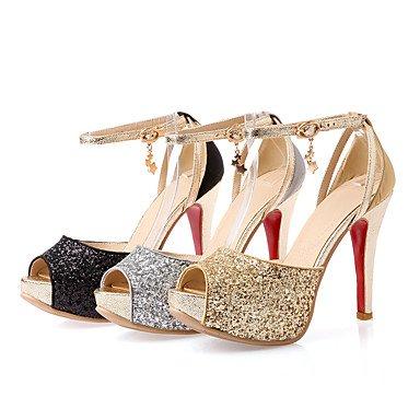 LvYuan Da donna Sandali Materiali personalizzati Primavera Autunno Footing Fibbia A stiletto Oro Nero Argento 10 - 12 cm Black