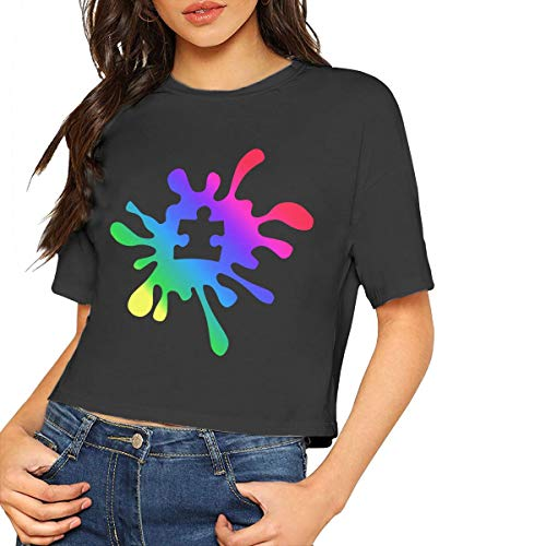 Autismus Regenbogen Puzzle Splatter Damen mädchen Kurzarm t Shirt tees Sport Short(s,schwarz) -