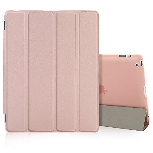 Besdata iPad 2 3 4 Hülle Smart Cover Schutz Case Leder Tasche Etui für Apple iPad Ständer Sleep Wake mit Displayschutzfolie Reinigungstuch Stift Rosa-Gold