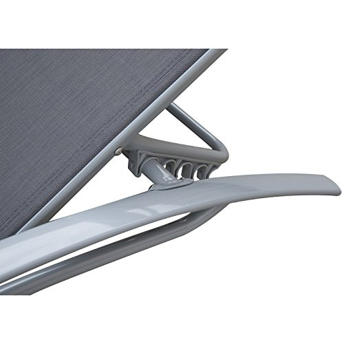 Outsunny Sonnenliege Gartenliege Gartenstuhl Relaxsessel Liegestuhl Aluminium, grau - 7