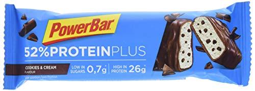 PowerBar Protein Plus 52% Barre Riche en Protéines Faible en Sucre Biscuit/Crème 20 x 50 g