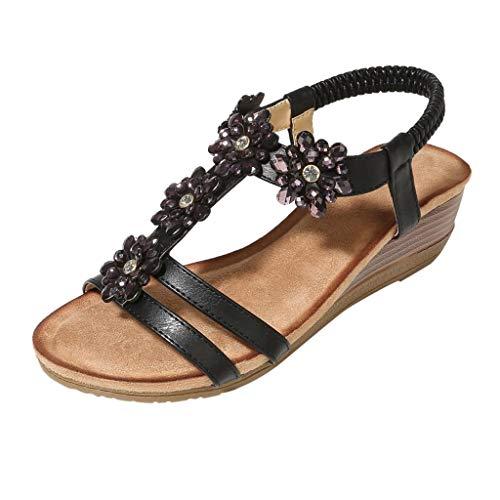 Mode Damen Sommer Strass Vintage Keil Hausschuhe, Damen Böhmischen Flip-Flops Sandalen,Frau Lässige Rom Strand Hausschuhe Freizeitschuhe Damenschuhe (41 EU, Schwarz) -