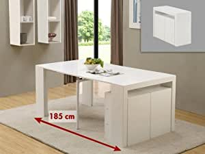 Console buffet extensible STRATÈGE - 3 rallonges - MDF - Laqué blanc