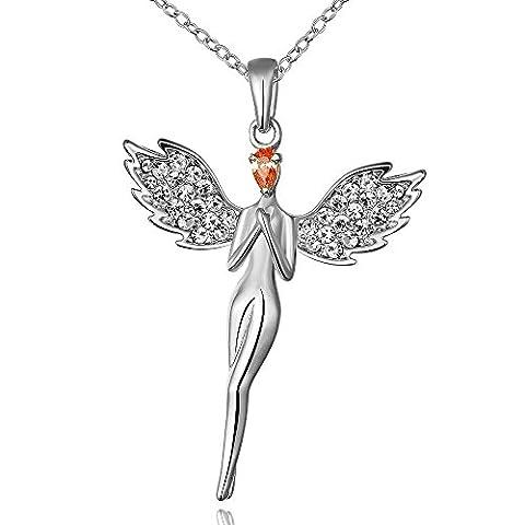 LINDA® Halskette Die Kette Anhänger Halsbänder Der Kragen Kragen Halbedelsteine Halskette Ms. Umweltschutz Platin Engel Anhänger Mode