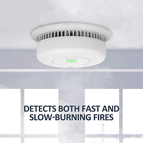 Detector de Alarma de Humo 85db Monitor de Detector de Sensor Fotoel/éctrico de Humo de Fuego Detector de Alarma de Humo Independiente Sensor de Fuego Bot/ón de Prueba Recordatorio de Bater/ía Baja