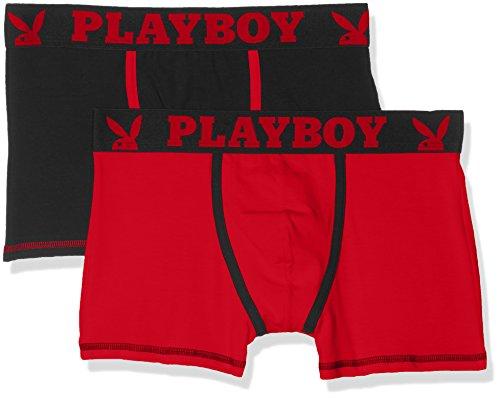 playboy-herren-boxershorts-2er-pack-classic-cool-multicolore-noir-rouge-rouge-medium