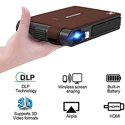 WIKISH Mini DLP Projector with WiFi, 3600 Lumen Support HD 1080P 3D Display Portable Wireless Video Airplay Projector with Smartphone, Laptop, HDMI, USB, for Home Theater Outdoor Movie Party Gaming