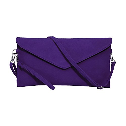 Jieway Frauen Faux Suede Abend Clutch Tasche Schulter Handtasche Messenger Umschlag Taschen Lila