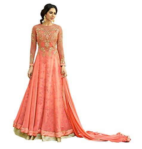 Vritikamesmer Orange Colour Georgette Anarkali Style Suit