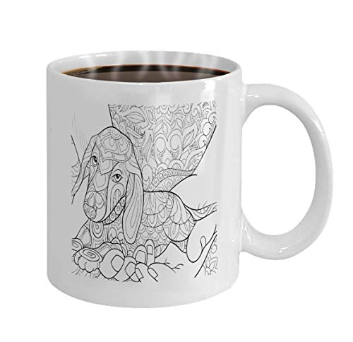 Personalized Mug coffee mug White Ceramic 11 Oz adult coloring book page cute little dog hands flor