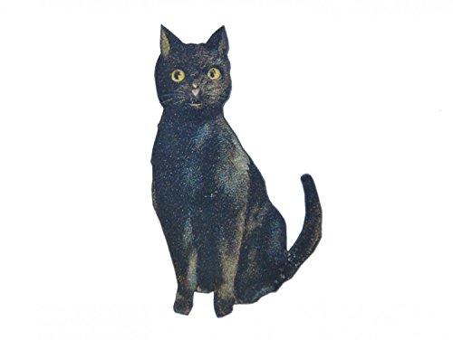 Miniblings Schwarze Katze Laserprint LC Brosche Anstecknadel Holz Schwarz Zauber Tier