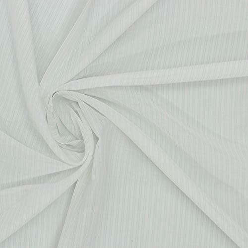kawenSTOFFE Voile Weiß Baumwolle Seide Batist durchscheinend Nadelstreifen Meterware - Baumwolle-seide Voile