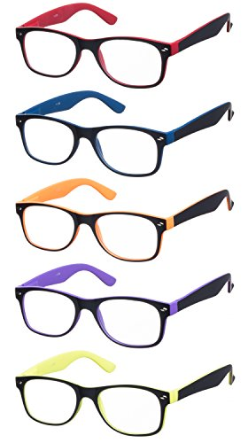 Lesebrillen im 5er-Set / Brillenform Wayfarer Brillengestell aus Kunststoff Zweifarbig + 4