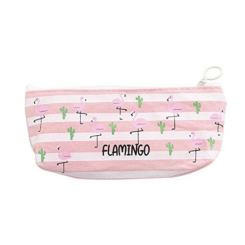 Cosanter Estuche de Lápiz de lona Bolso de la pluma de la capacidad grande con patrón Flamenco para estudiantes y empleados de oficina (Franja rosa) 19,6 x 10 cm