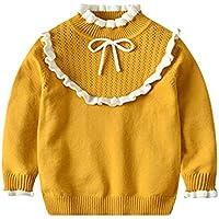 Kunfang Niños Suéter - Chica Niños Clásico Moda Estilo Princesa Sudadera Elegante Casual Cuello De Encaje Suéter Simple Suave Transpirable Sudadera 5 Colores