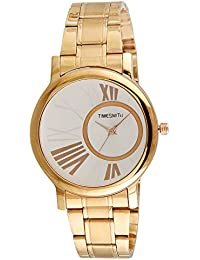 Timesmith Premium Limited Edition White Dial Gold Stainless Steel Strap Branded Anaog Watch For Women TSM-125