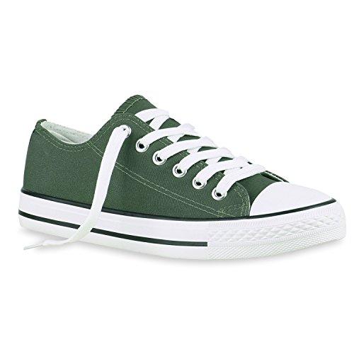 Damen Schuhe Sneakers | Turnschuhe Freizeitschuhe | Low Sneaker | Übergrößen | Prints Glitzer Denim Dunkelgrün