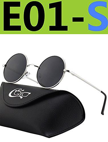 CGID E01 Petites lunettes de soleil polarisées inspirées du style retro vintage Lennon en cercle métallique rond REDBXr