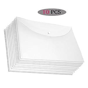 SNDIA 10 Pack A4 Document File Bag, Transparent Envelope Holder Storage Case, Snap Button Organizer, My Clear Plastic…