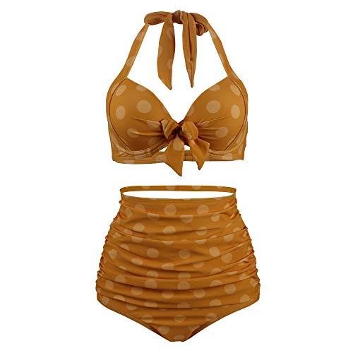 MKHDD Frauen Retro Floral Halfter Hohe Taille Bikini Set Krawatte Front Verschluss Top Rüschen Badeanzug Badeanzug,Yellow,S -