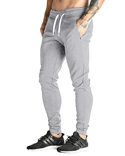 MODCHOK Homme Pantalon Jogging Bas de Survêtement Sweat Pants Sport Slim Fit, Gris Clair, L