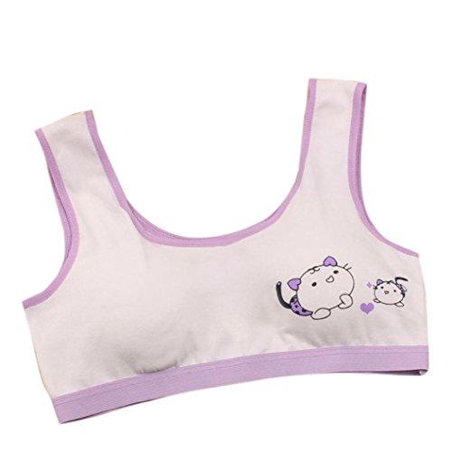 squarex Mädchen-Mädchen-Unterwäsche Set BH Weste underclothes Sport-Unterwäsche violett Größe M