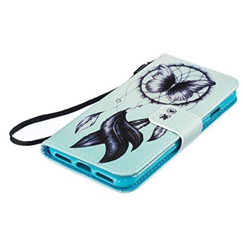 Cover iPhone 7,SainCat Custodia iPhone 7 In Pelle,Portafoglio Flip Case cover,Ultra Slim Flip Pelle PU Case,Anti-Scratch Protettiva Caso Elegante Creativa Dipinto Pattern Design PU Leather Flip Ultra  Dreamcatcher