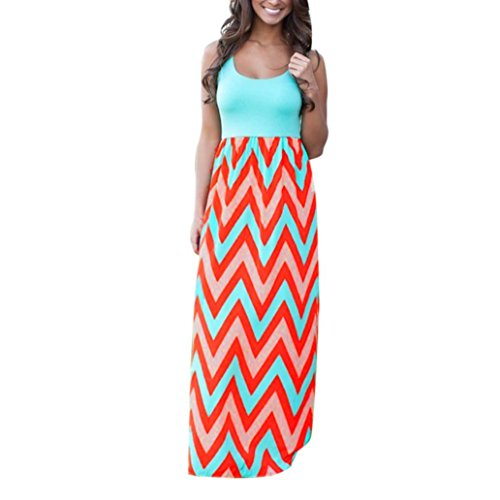 JUTOO Dawomen Striped Long Boho Kleid Lady Beach Sommer Sundrss Maxikleid(Blau, EU:42/CN:XL)