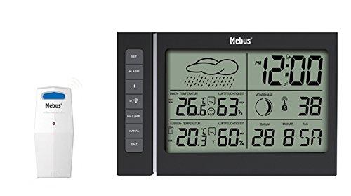 Mebus 40345 Digitale Wetterstation, Schwarz - Digitale Wetterstationen (Schwarz, 180 mm, 22 mm, 110 mm)