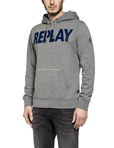 Replay M3133 .000.21842, Felpa Uomo, Grau (Melange Grey M14), Small