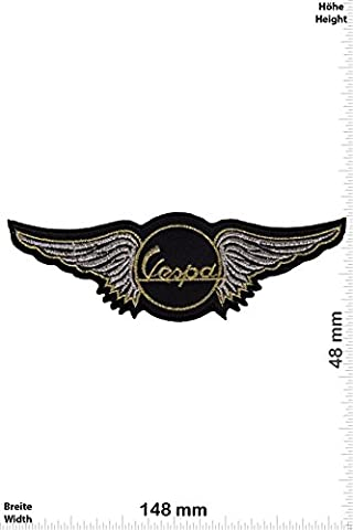 Patches - Vespa fly - gold- Motorbike - Motorsport - Motorcycles - Biker - Iron on Patch - Applique embroidery Écusson brodé Costume Cadeau- Give Away